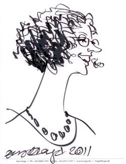 Karrikaturtegning af Kirstine Andersen tegnet af Jens Have